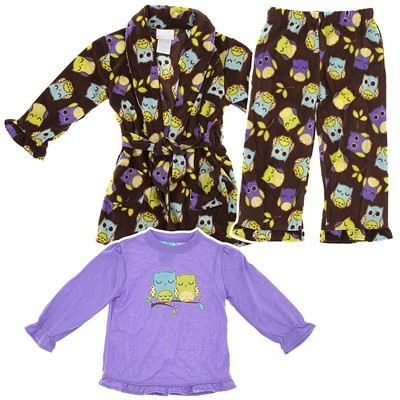 Brown Owl Bathrobe and Pajama Set for Toddlers and Girls