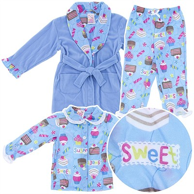 Cupcake Pajama and Bath Robe Set for Toddler Girls