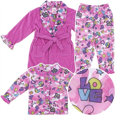 Peace and Love Pajama and Bath Robe Set for Toddler Girls