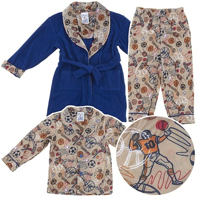Sports Pajama and Bath Robe Set for Toddler Boys