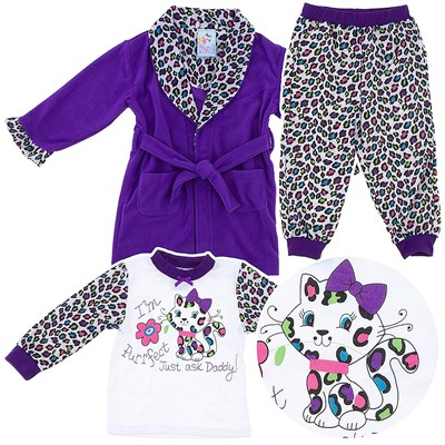 Purple Leopard Print Pajama and Bath Robe Set for Girls