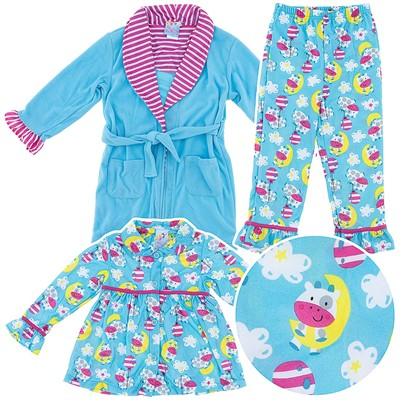 Cow Pajama and Bath Robe Set for Toddlers and Girls