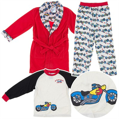Red Motorcycle Pajama and Bath Robe Set for Toddler Boys