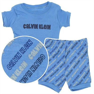 Calvin Klein Blue Cotton Shorty Pajamas for Toddler Boys