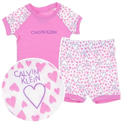 Calvin Klein Pink Cotton Shorty Pajamas for Toddler Girls