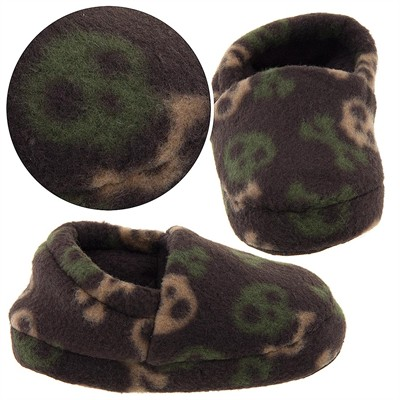 Brown Skull Slippers for Toddler Boys