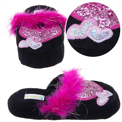 Black Heart Slippers for Toddlers and Girls