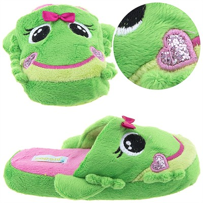 Happy Frogs Green Slippers for Girls