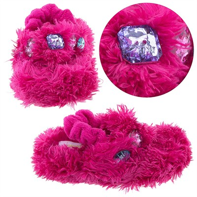 Hot Pink Fuzzy Slippers for Toddler Girls