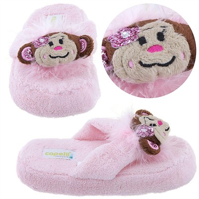 Pink Monkey Thong Slippers for Toddlers and Girls