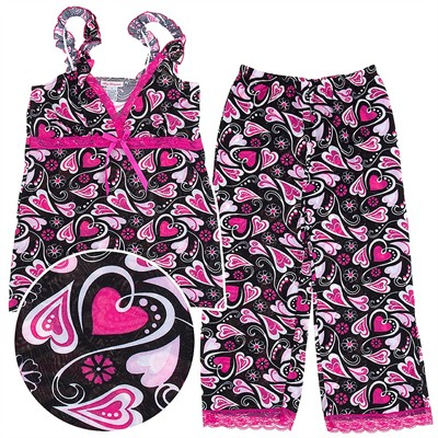 Pink Heart Capri Pajamas for Women