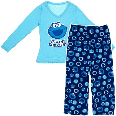 Cookie Monster Fleece Pajamas for Women