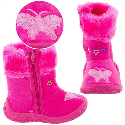 Dark Pink Butterfly Bootie Slippers for Toddler Girls