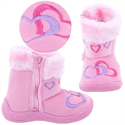 Pink Heart Bootie Slippers for Toddler Girls
