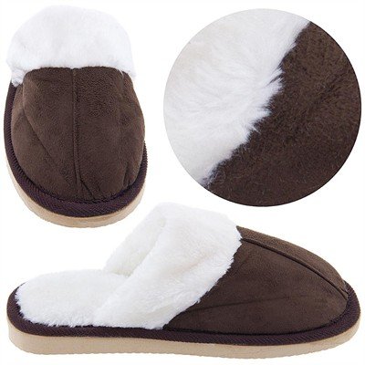 Chocolate Brown Scuffs with Faux Fur for Women