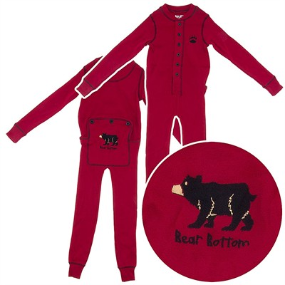 Lazy One Red Bear Union Suit for Toddlers and Kids