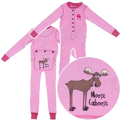 Lazy One Pink Moose Union Suit for Toddlers and Kids