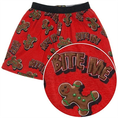 Fun Boxers Bite Me Gingerbread Man Christmas Boxer Shorts for Men