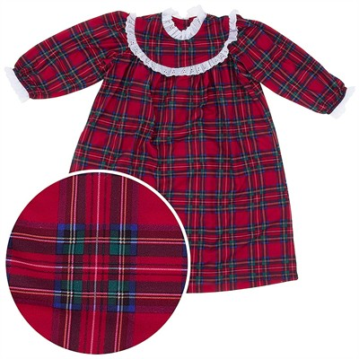 Red Plaid Classic Christmas Nightgown for Toddlers and Girls