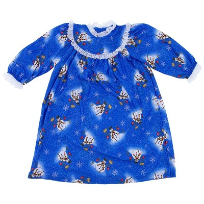 Blue Snowman Classic Christmas Nightgown for Toddlers and Girls