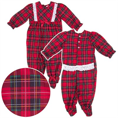 Laura Dare Red Plaid Christmas Footie Pajama for Baby Girls