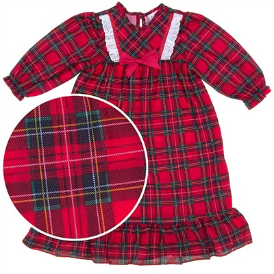 Laura Dare Red Plaid Bow Nightgown for Girls