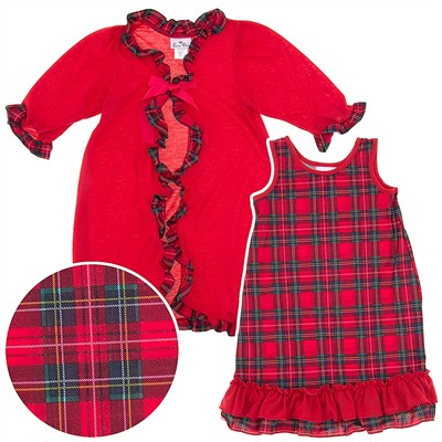 Laura Dare Red Plaid Peignoir Set for Toddlers and Girls