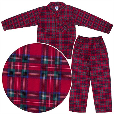Red Plaid Classic Christmas Coat-Style Pajamas for Infants, Toddlers and Boys