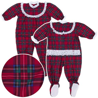 Red Plaid Classic Christmas Footed Pajama for Baby Girls