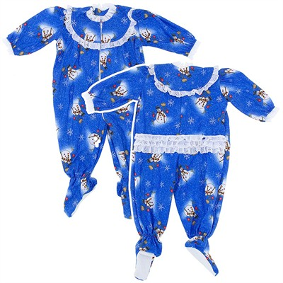 Blue Snowman Classic Christmas Footed Pajama for Baby Girls