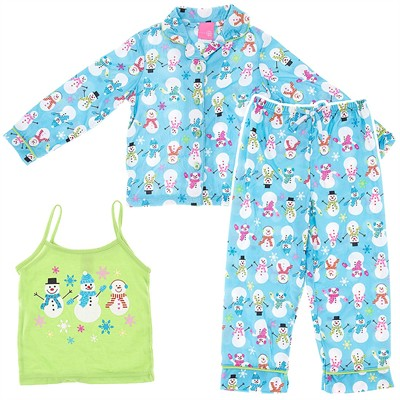Blue Snowmen Pajamas for Girls