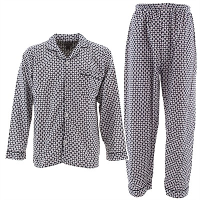 White and Blue Diamond Print Flannel Pajamas for Men