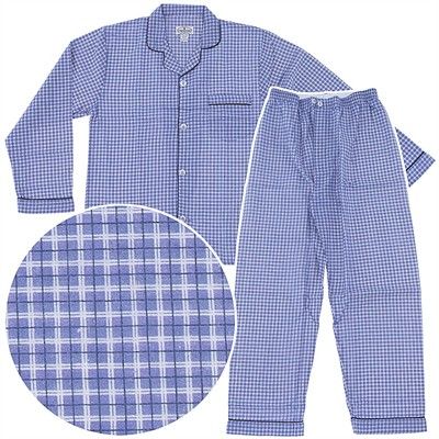 Comfort Zone Blue Plaid Flannel Pajamas for Men