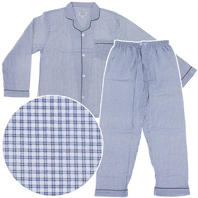 Comfort Zone Blue Check Flannel Pajamas for Men