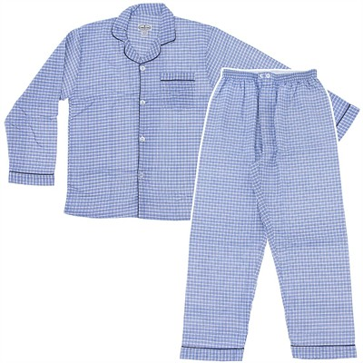 Comfort Zone Light Blue Plaid Flannel Pajamas for Men