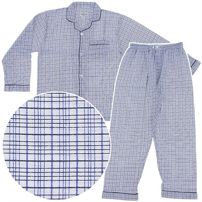 Comfort Zone White and Blue Plaid Flannel Pajamas for Men