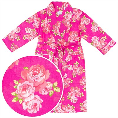 Bright Pink Floral Cotton Bathrobe for Women