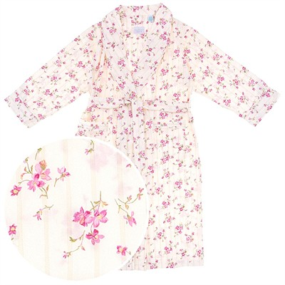 Ivory Floral Cotton Bathrobe for Women
