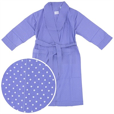 Periwinkle Polka Dot Cotton Bathrobe for Women
