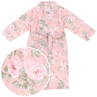 Pink Floral Cotton Bathrobe for Women