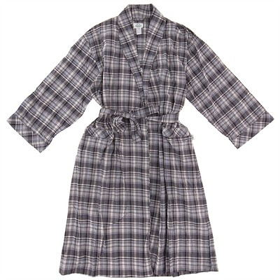 Gray Plaid Cotton Bathrobe for Men