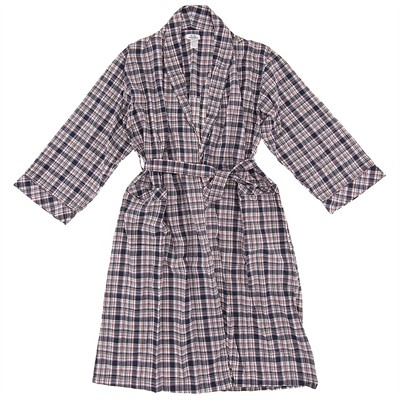 Navy Plaid Cotton Bathrobe for Men