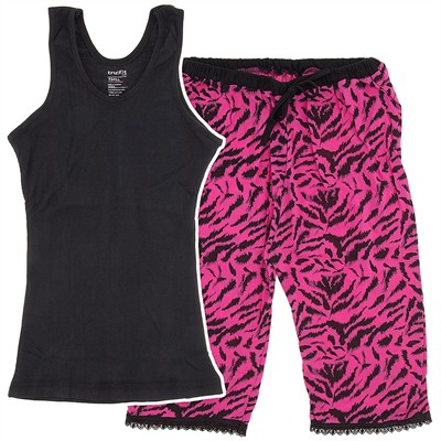 Black and Pink Zebra Capri Pajamas for Women