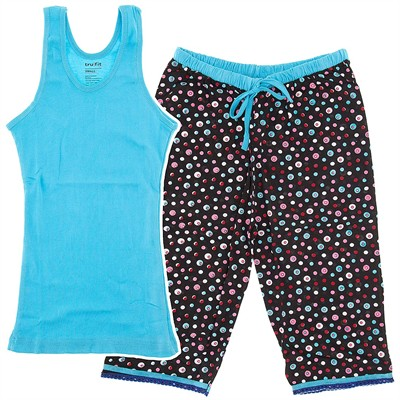 Blue Polka Dot Capri Pajamas for Women
