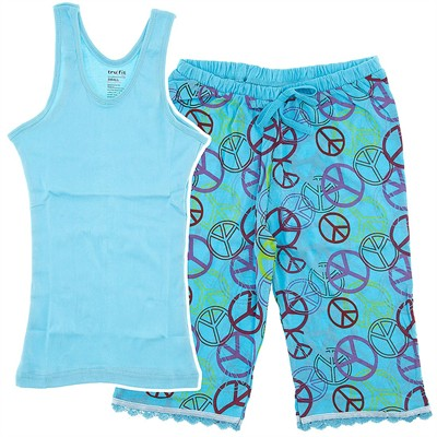 Blue Peace Sign Capri Pajamas for Women