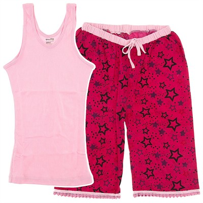 Pink Star Capri Pajamas for Women