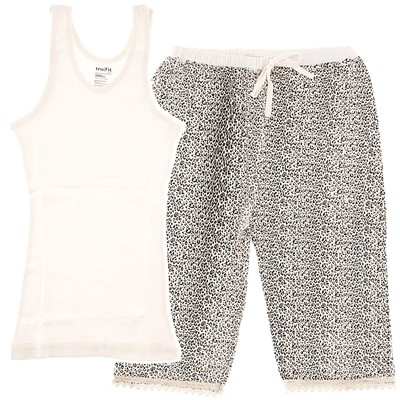White Leopard Capri Pajamas for Women