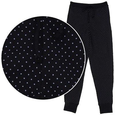 Black Dot Cotton Pajama Pants for Women