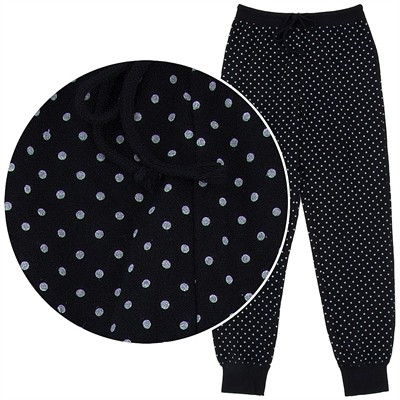 Black Polka Dot Cotton Pajama Pants for Women