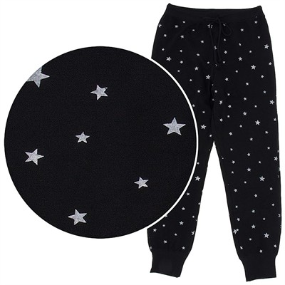 Black Star Cotton Pajama Pants for Women with Cuffs